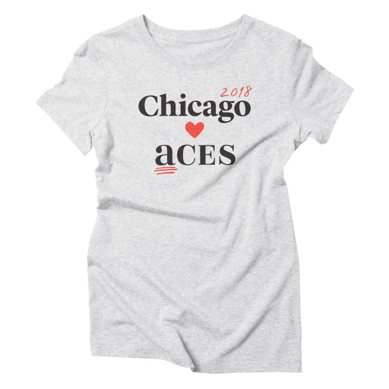 Chicago Hearts ACES 2018 Black + Red Women's Triblend T-Shirt by Chicago Manual of Style