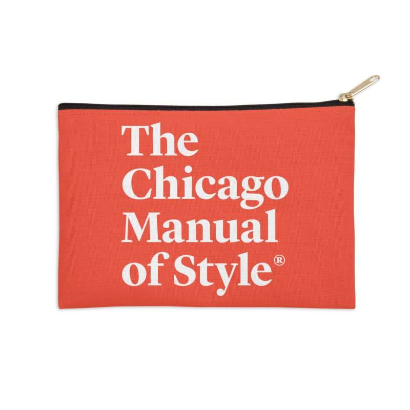 The Chicago Manual of Style, White Logo Accessories Zip Pouch by Chicago Manual of Style
