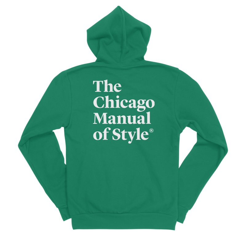 The Chicago Manual of Style, White Logo Men's Sponge Fleece Zip-Up Hoody by Chicago Manual of Style