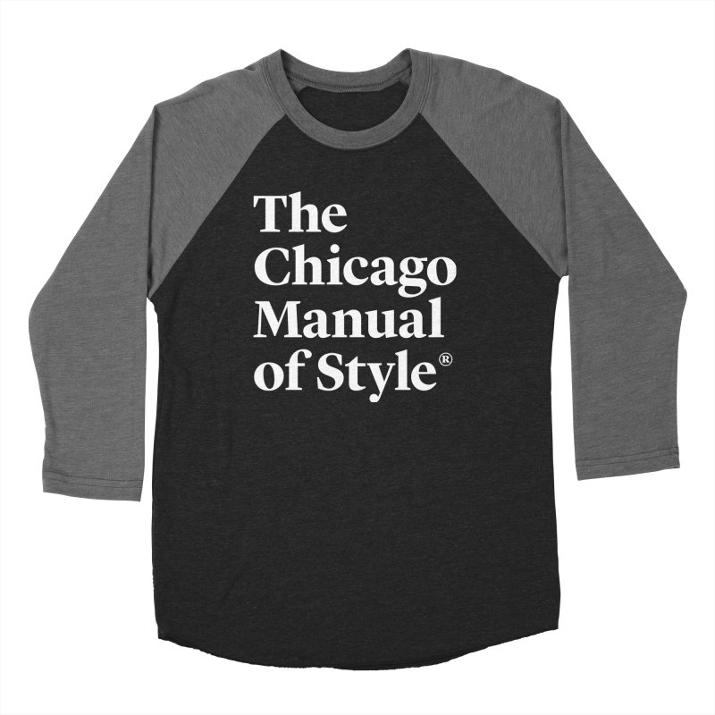 The Chicago Manual of Style, White Logo Men's Baseball Triblend Longsleeve T-Shirt by Chicago Manual of Style