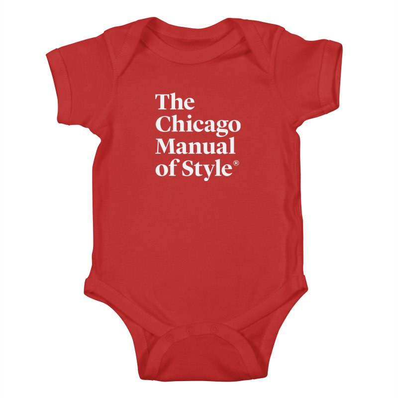 The Chicago Manual of Style, White Logo Kids Baby Bodysuit by Chicago Manual of Style