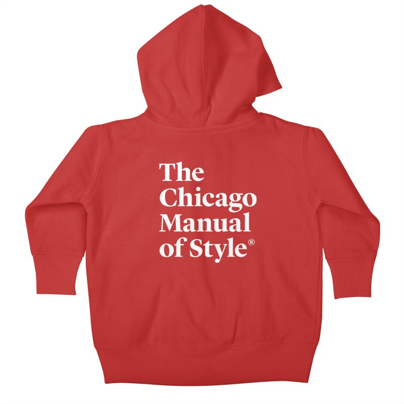 The Chicago Manual of Style, White Logo Kids Baby Zip-Up Hoody by Chicago Manual of Style