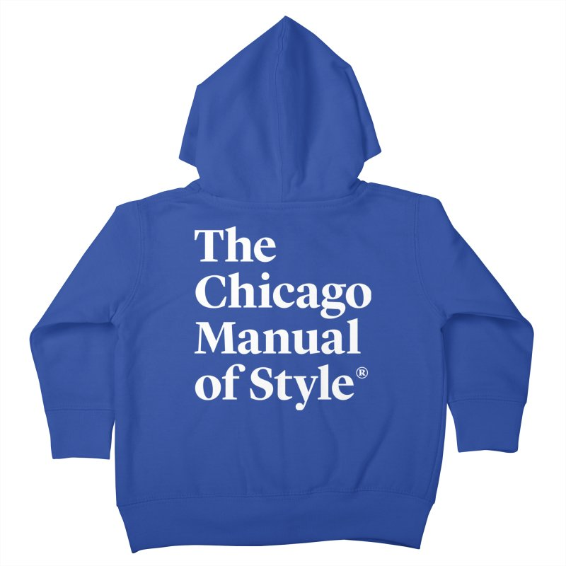 The Chicago Manual of Style, White Logo Kids Toddler Zip-Up Hoody by Chicago Manual of Style