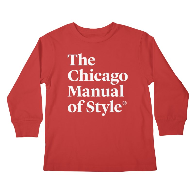 The Chicago Manual of Style, White Logo Kids Longsleeve T-Shirt by Chicago Manual of Style