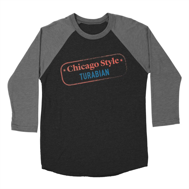 Chicago-Style Stamp of Approval in Women's Baseball Triblend Longsleeve T-Shirt Grey Triblend Sleeves by Chicago Manual of Style