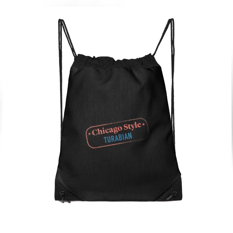 Chicago-Style Stamp of Approval, Black Accessories Drawstring Bag Bag by Chicago Manual of Style