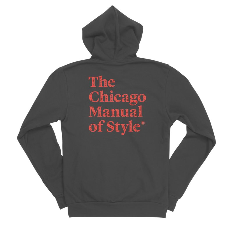 Classic Logo, Red Whimsy Women's Sponge Fleece Zip-Up Hoody by Chicago Manual of Style