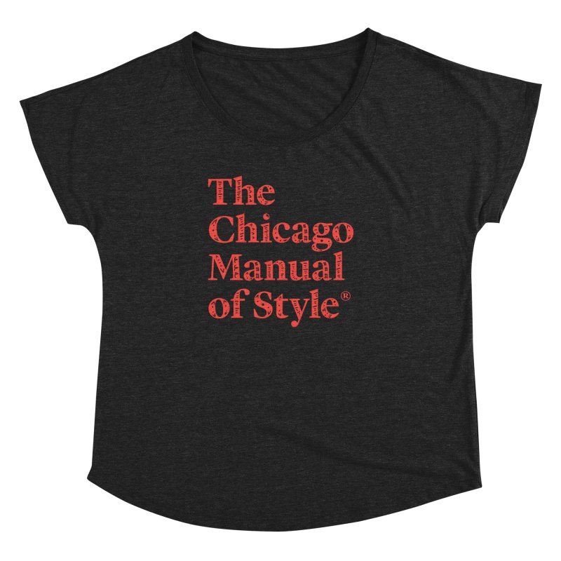Classic Logo, Red Whimsy Women's Dolman Scoop Neck by Chicago Manual of Style