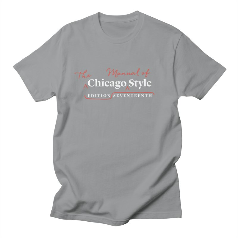 Chicago Style, White + Red / Men's & Kids' Apparel Men's Regular T-Shirt by Chicago Manual of Style
