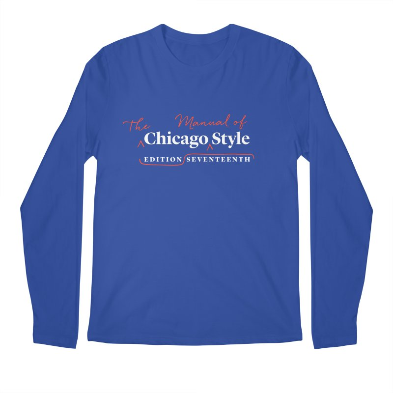 Chicago Style, White + Red / Men's & Kids' Apparel Men's Regular Longsleeve T-Shirt by Chicago Manual of Style