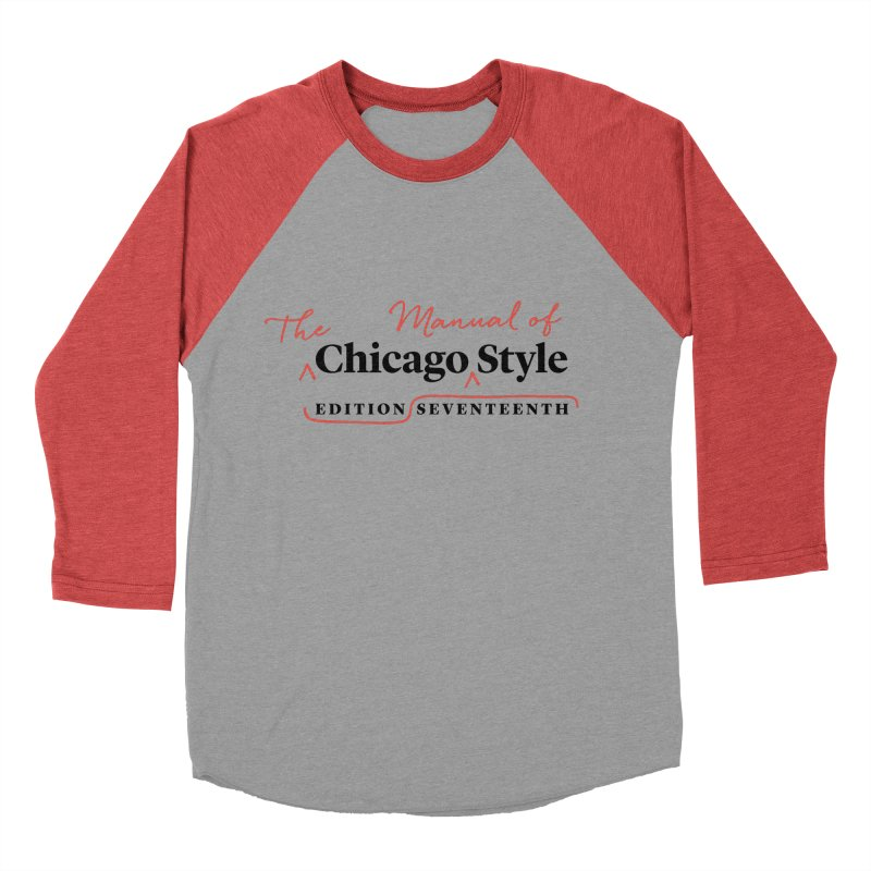 Chicago Style, Black + Red / Men's & Kids' Apparel Men's Baseball Triblend Longsleeve T-Shirt by Chicago Manual of Style