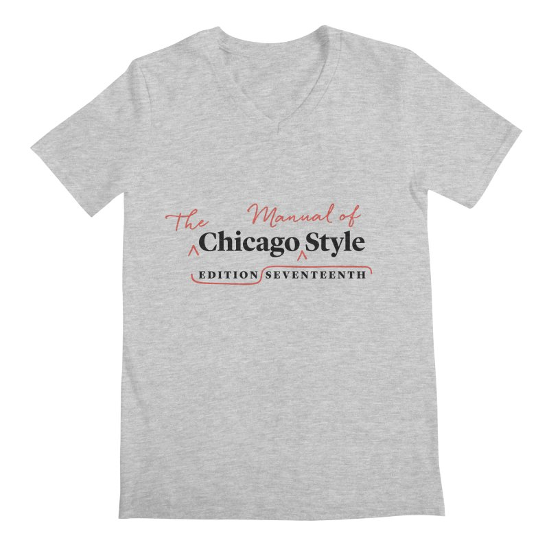 Chicago Style, Black + Red / Men's & Kids' Apparel Men's V-Neck by Chicago Manual of Style