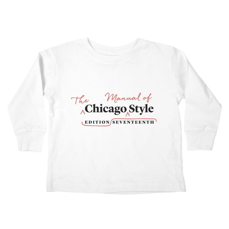 Chicago Style, Black + Red / Men's & Kids' Apparel Kids Toddler Longsleeve T-Shirt by Chicago Manual of Style