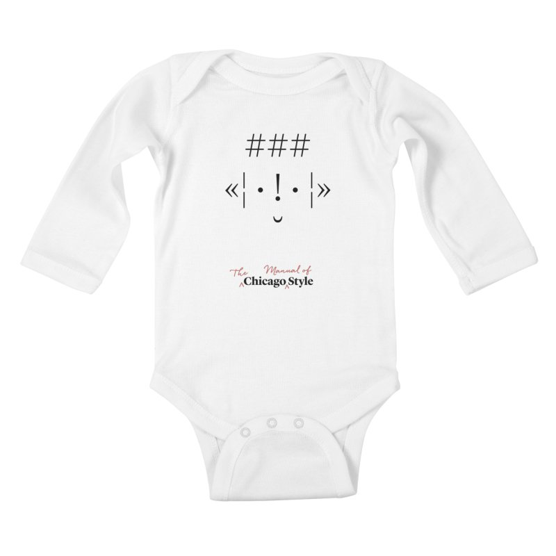 Chicago Style Buddy, Black + Red / Kids' Apparel Kids Baby Longsleeve Bodysuit by Chicago Manual of Style