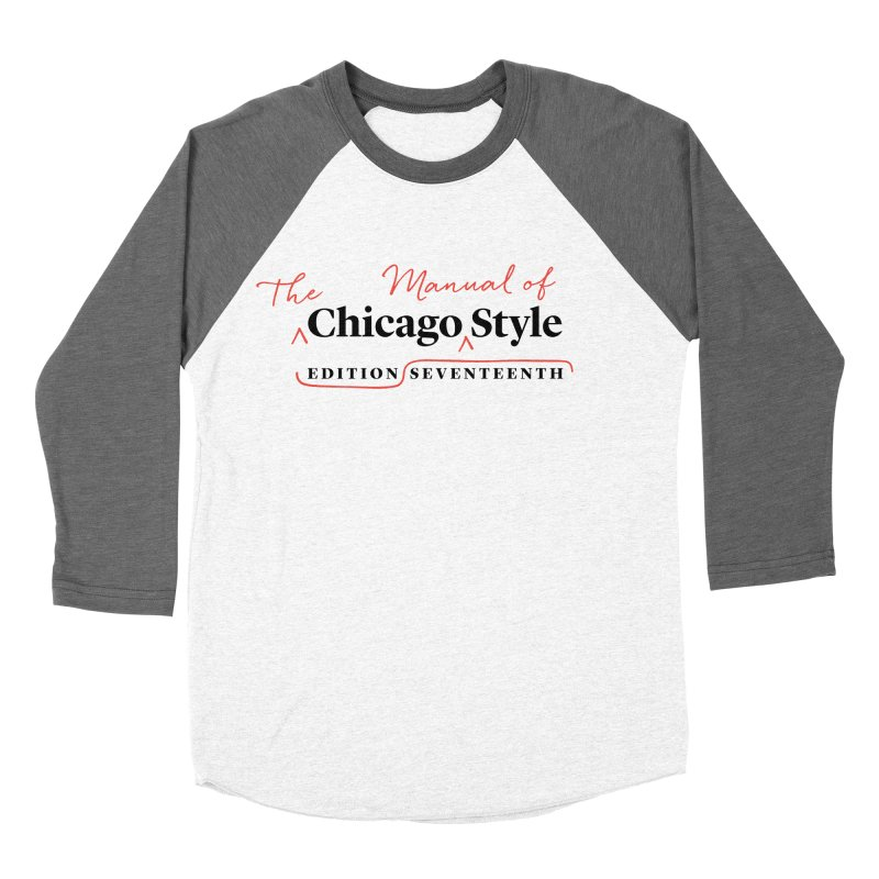 Chicago Style, Black + Red / Women's Apparel Women's Baseball Triblend Longsleeve T-Shirt by Chicago Manual of Style