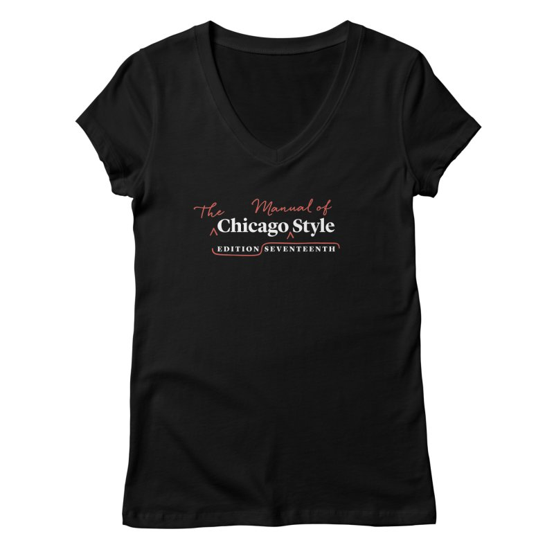 Chicago Style, White + Red / Women's Apparel Women's V-Neck by Chicago Manual of Style