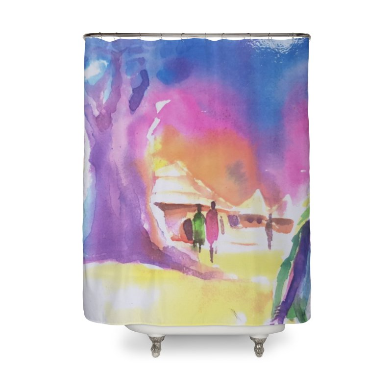 Water water Home Shower Curtain by Symbols of Communicatios