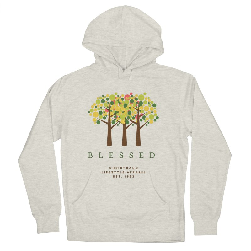 Blessed in Men's French Terry Pullover Hoody Heather Oatmeal by ChristGang Apparel