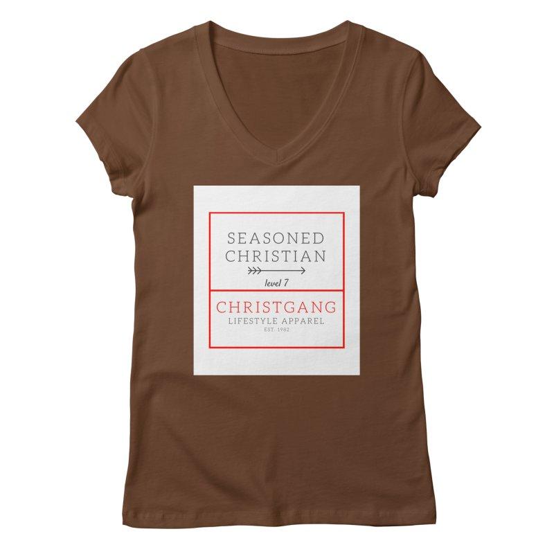Seasoned Christian Women's Regular V-Neck by ChristGang Apparel