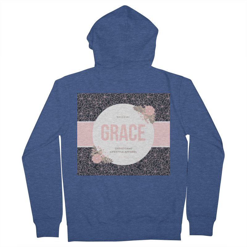Saved By Grace Women's French Terry Zip-Up Hoody by ChristGang Apparel