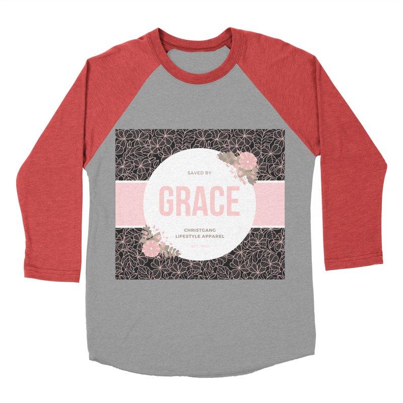 Saved By Grace Women's Baseball Triblend Longsleeve T-Shirt by ChristGang Apparel