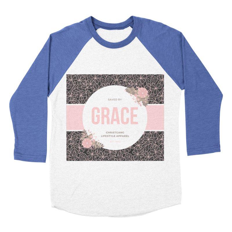 Saved By Grace Men's Baseball Triblend Longsleeve T-Shirt by ChristGang Apparel