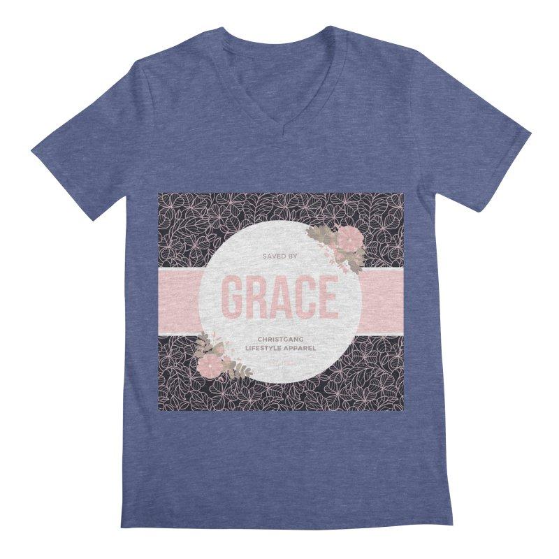 Saved By Grace Men's Regular V-Neck by ChristGang Apparel