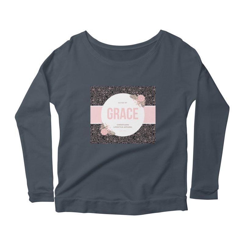 Saved By Grace Women's Scoop Neck Longsleeve T-Shirt by ChristGang Apparel