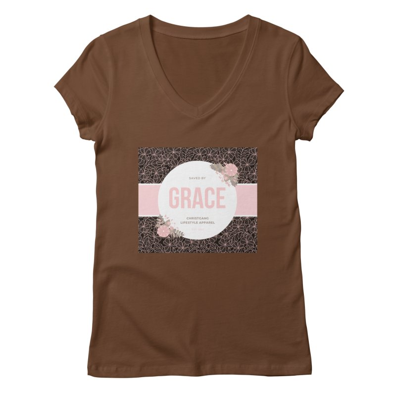 Saved By Grace Women's Regular V-Neck by ChristGang Apparel