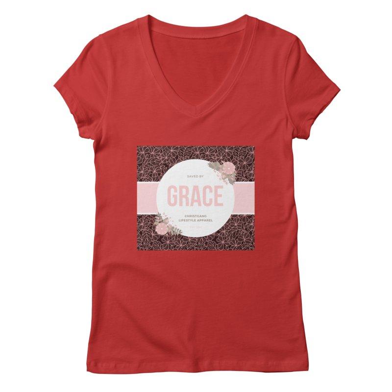 Saved By Grace Women's Regular V-Neck by ChristGang Apparel