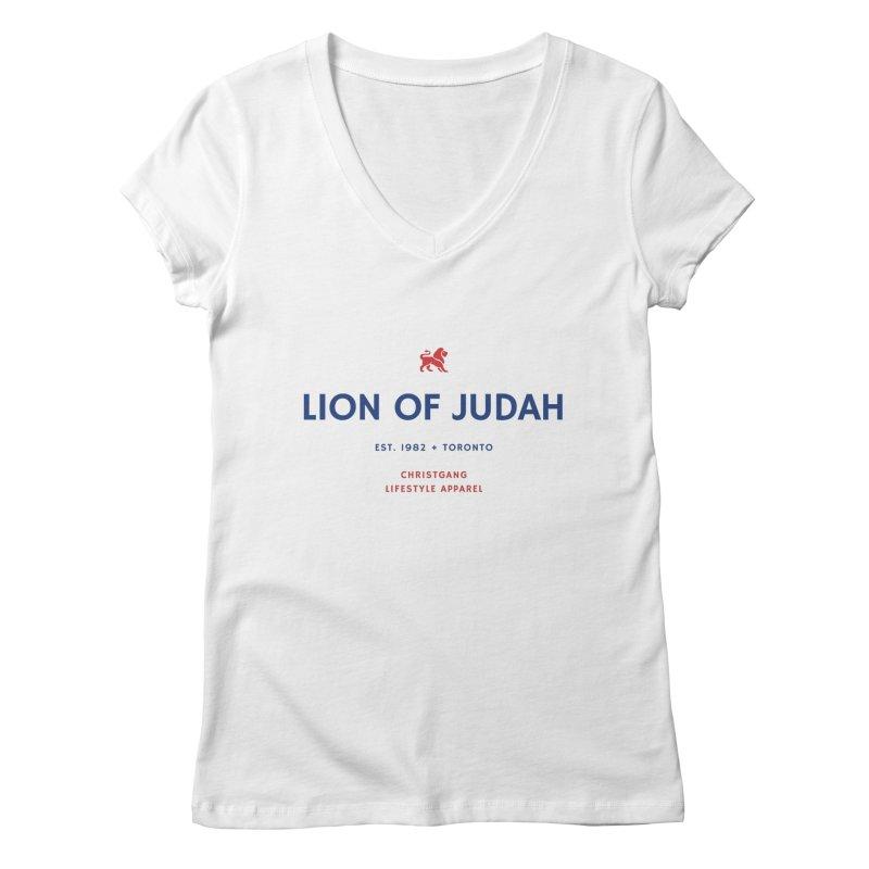 Lion Of Judah Women's Regular V-Neck by ChristGang Apparel