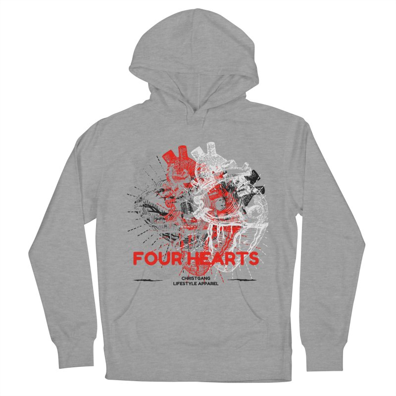 Four Hearts Women's French Terry Pullover Hoody by ChristGang Apparel