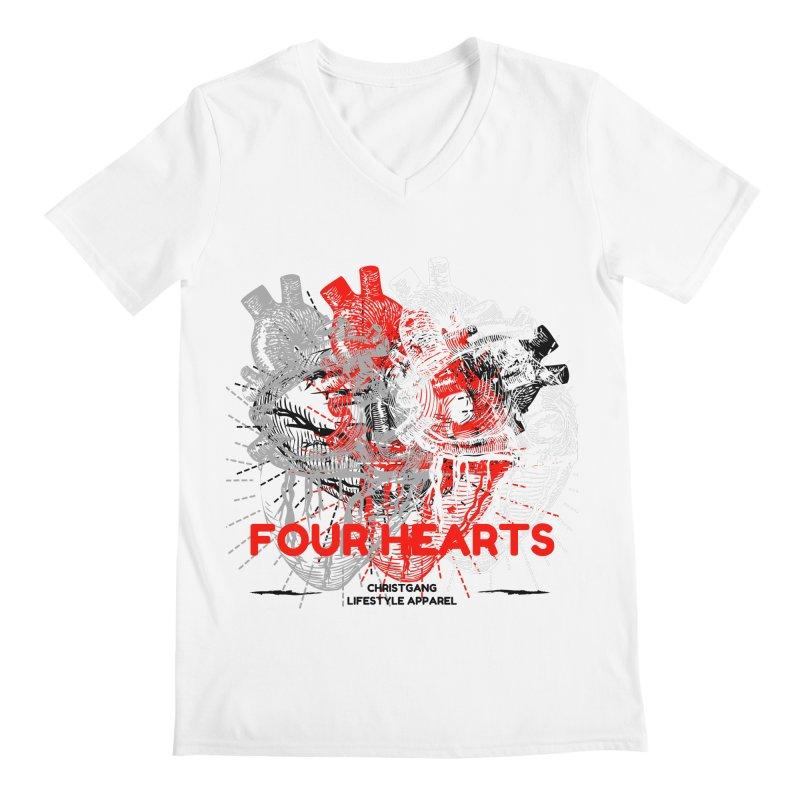 Four Hearts Men's Regular V-Neck by ChristGang Apparel