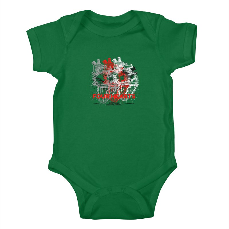 Four Hearts Kids Baby Bodysuit by ChristGang Apparel