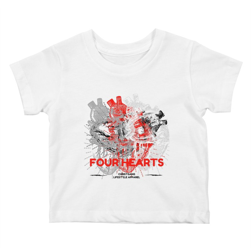 Four Hearts Kids Baby T-Shirt by ChristGang Apparel
