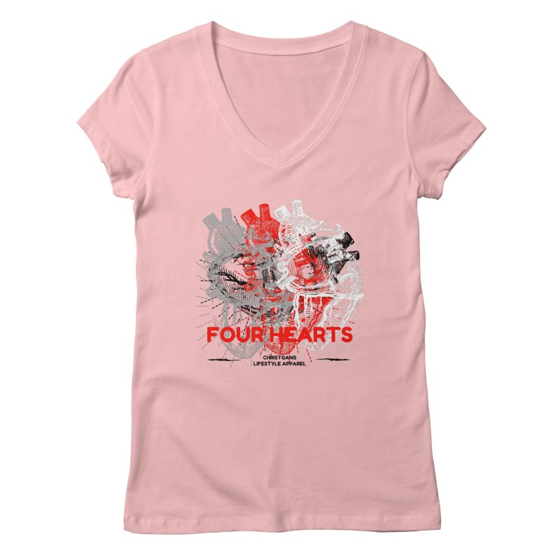 Four Hearts Women's V-Neck by ChristGang Apparel