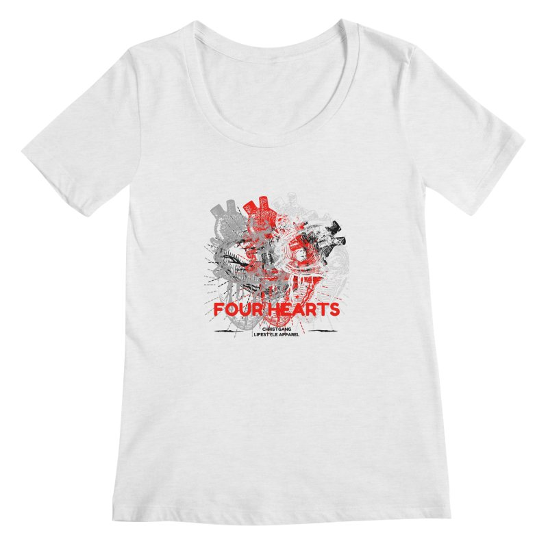 Four Hearts Women's Scoop Neck by ChristGang Apparel