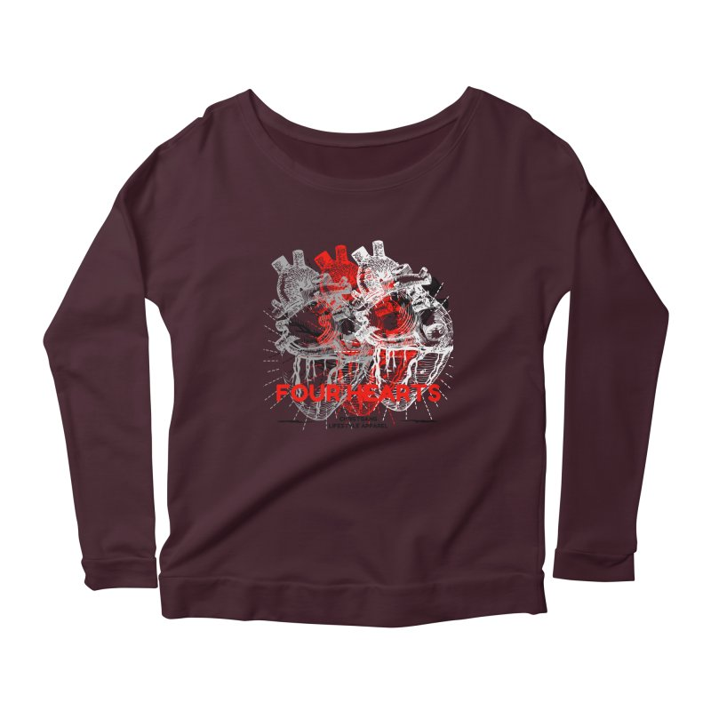 Four Hearts Women's Scoop Neck Longsleeve T-Shirt by ChristGang Apparel