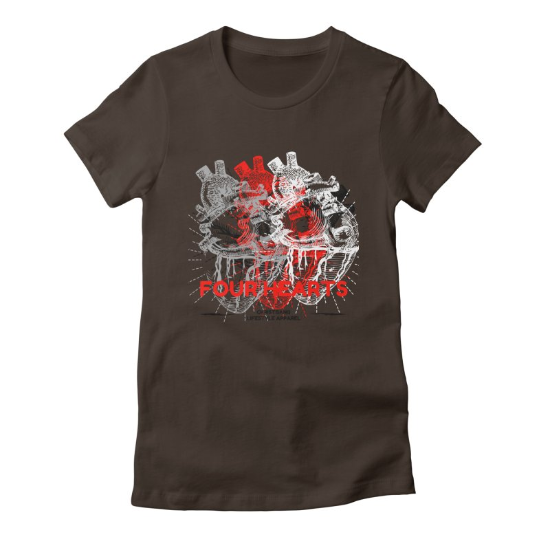 Four Hearts Women's Fitted T-Shirt by ChristGang Apparel