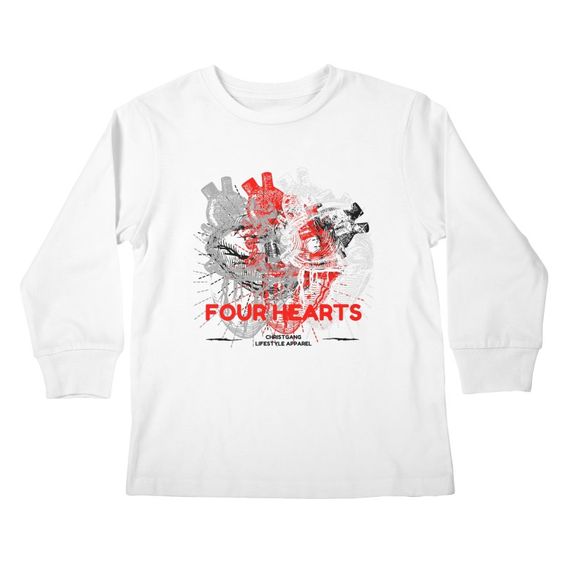 Four Hearts Kids Longsleeve T-Shirt by ChristGang Apparel