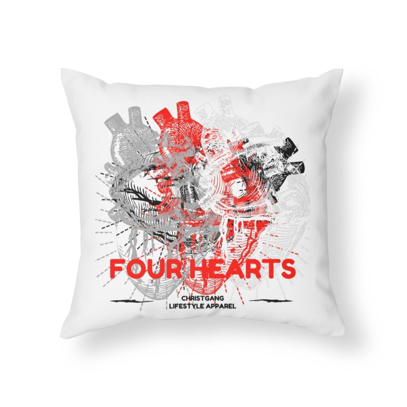 Four Hearts Home Throw Pillow by ChristGang Apparel
