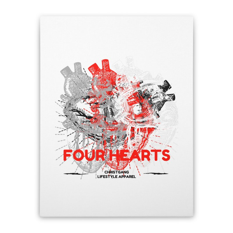 Four Hearts Home Stretched Canvas by ChristGang Apparel