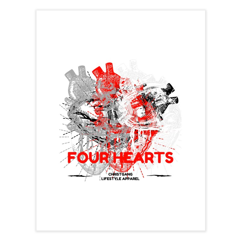 Four Hearts Home Fine Art Print by ChristGang Apparel