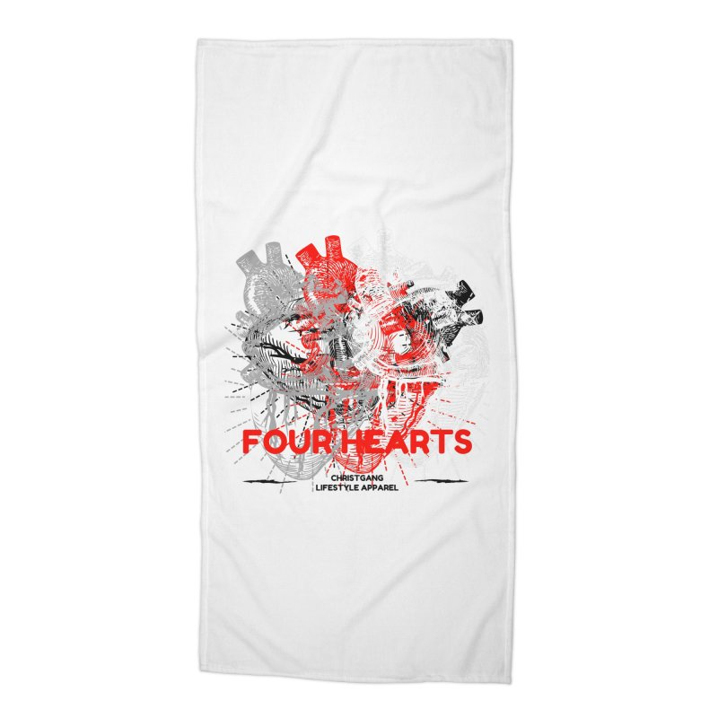 Four Hearts Accessories Beach Towel by ChristGang Apparel