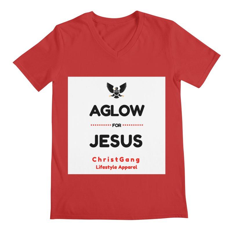 Aglow For Jesus Men's Regular V-Neck by ChristGang Apparel