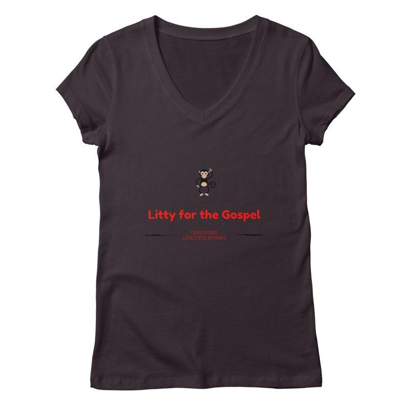 Litty For The Gospel 2 Women's Regular V-Neck by ChristGang Apparel