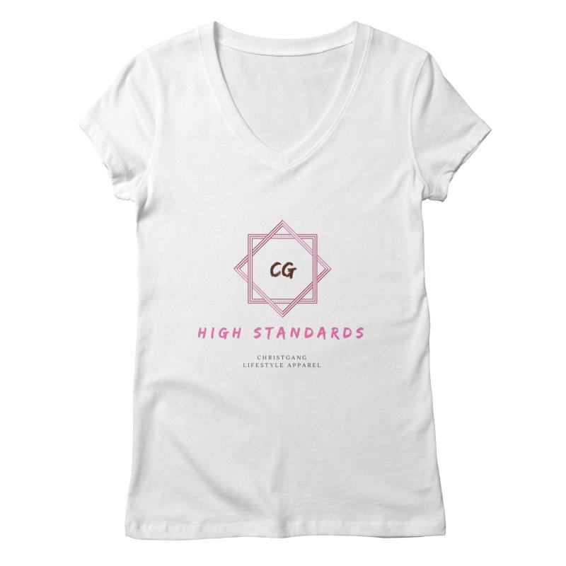 High Standards Women's Regular V-Neck by ChristGang Apparel