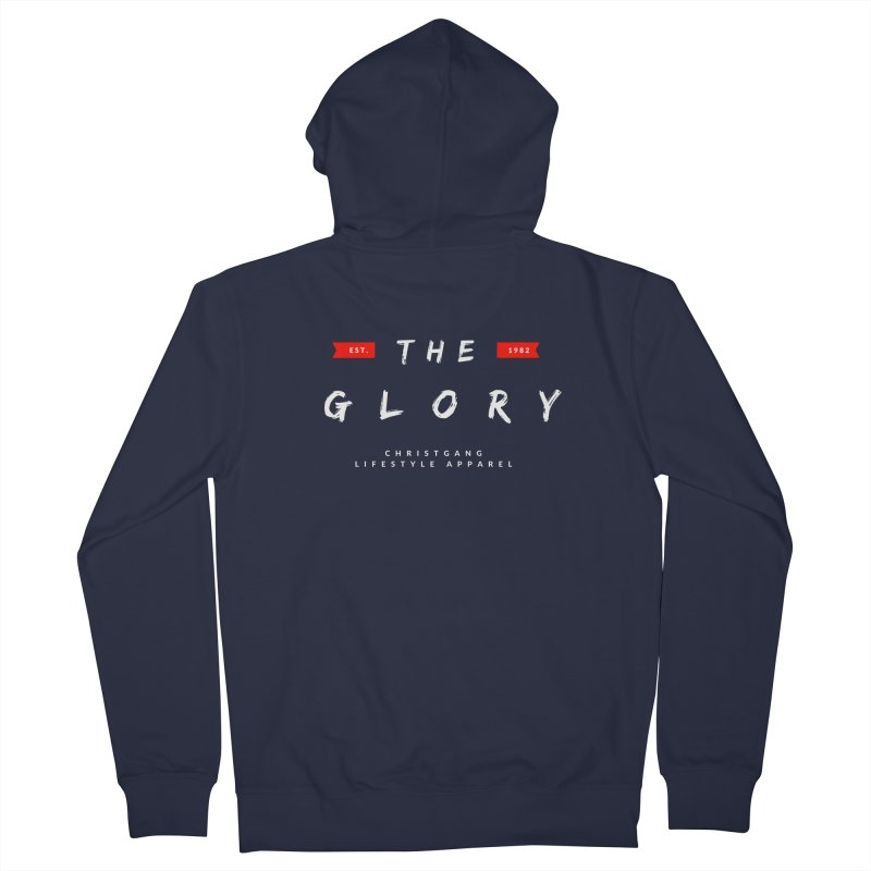 The Glory White Men's French Terry Zip-Up Hoody by ChristGang Apparel
