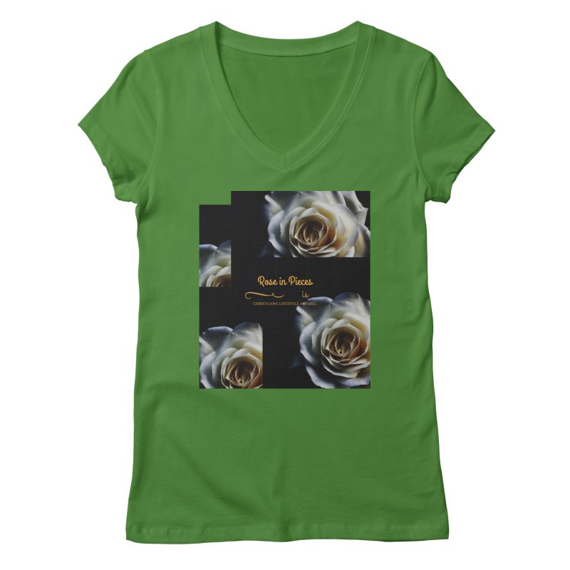 Pieces Of A Rose Women's Regular V-Neck by ChristGang Apparel
