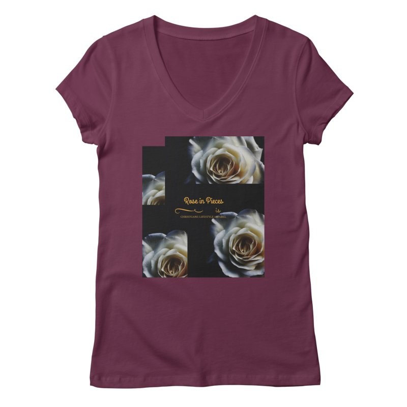 Pieces Of A Rose Women's V-Neck by ChristGang Apparel